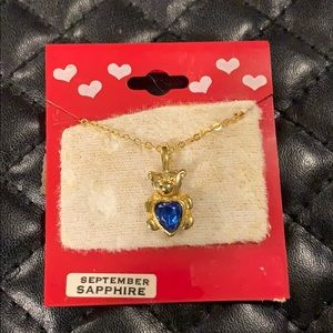 🆕Vintage 1980s Sapphire Bday Bear Necklace